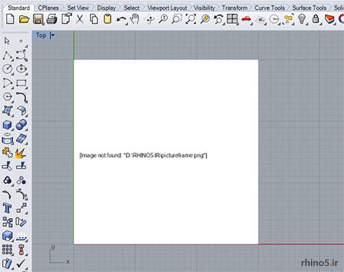 استفاده از دستور Pictureframe در راینو با گزینه Embedbitmap=No