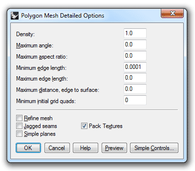 Mesh detailed controls