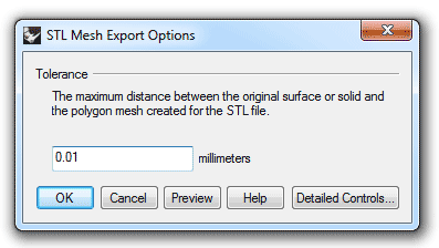 تنظیمات ذخیره فایل stl در راینو